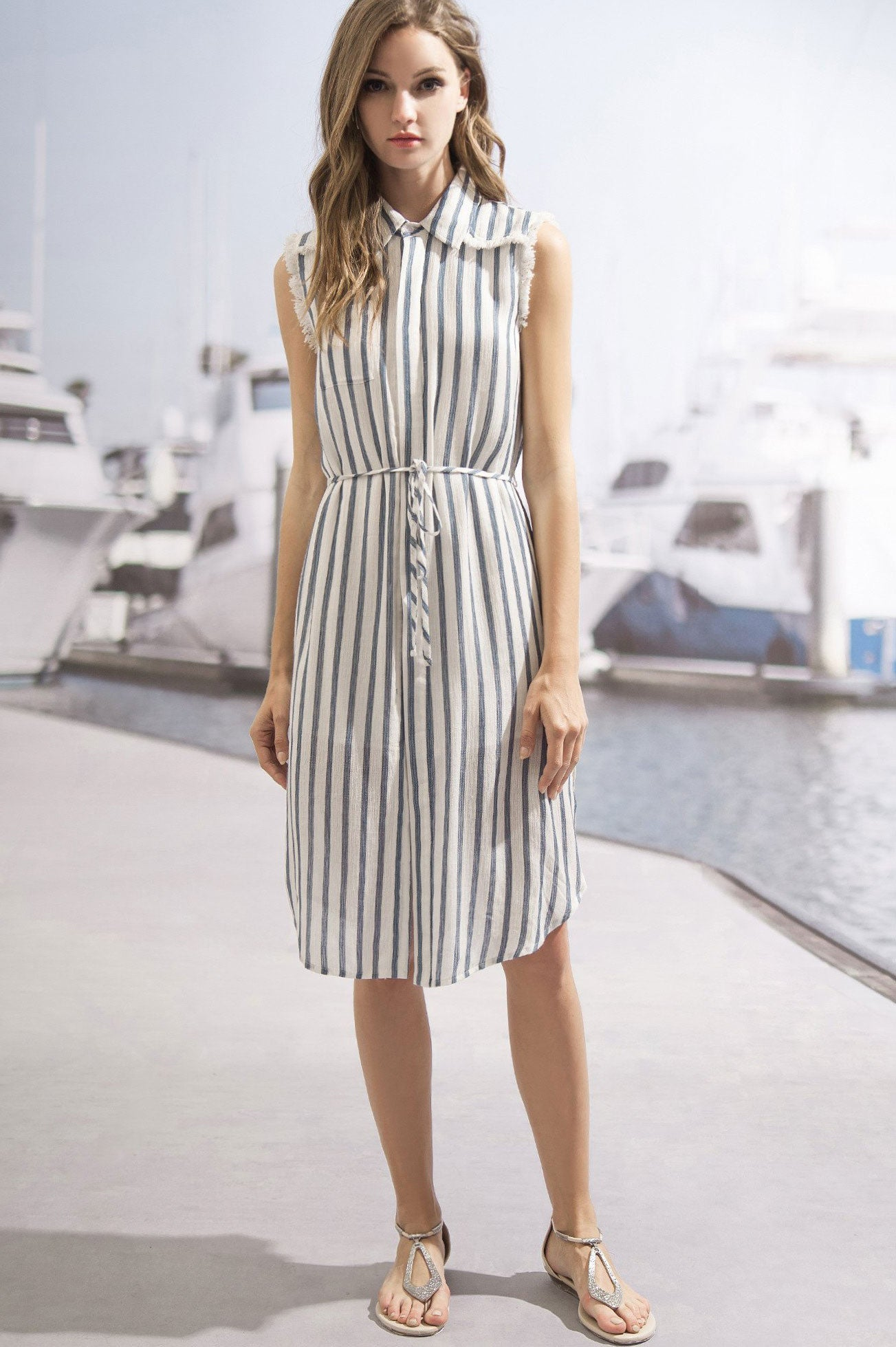 Womens Sleeveless Button Up Blue and white stripe shirt dress midi casual summer outfits