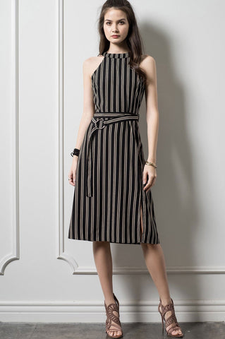 Women's sleeveless black and brown stripe belted midi party dress for going out or work