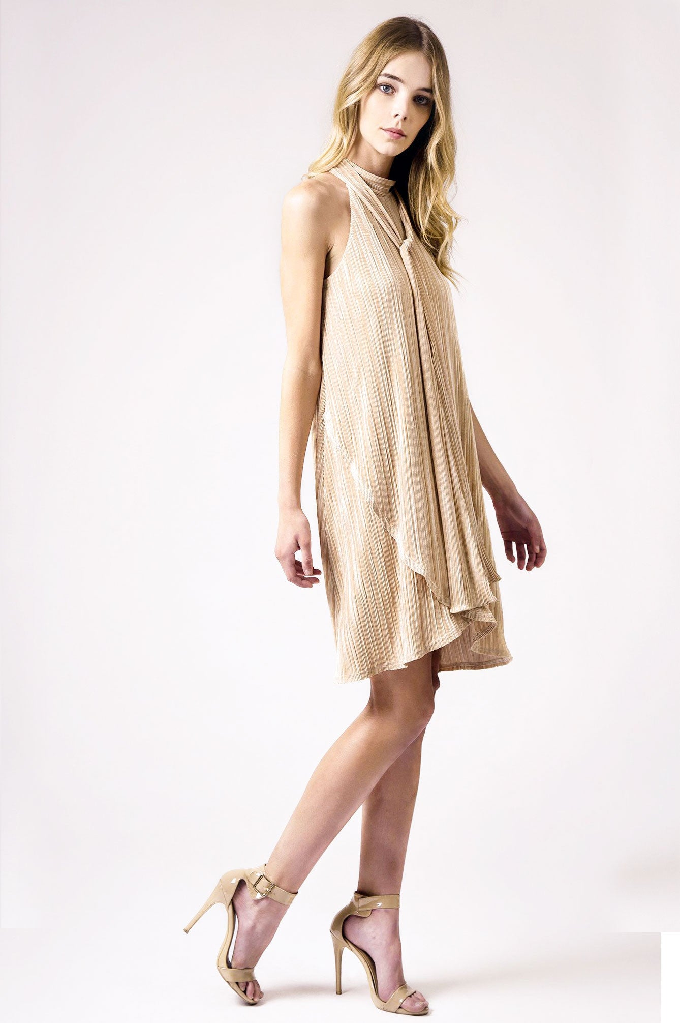 Women's sleeveless tie-neck pussybow mini swing cocktail party dress in mocha camel nude pleated
