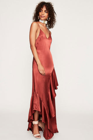 Women's wedding guest attire. sleeveless spaghetti strap v-neck cami slip maxi dress for party going out. What to wear to a fall autumn wedding