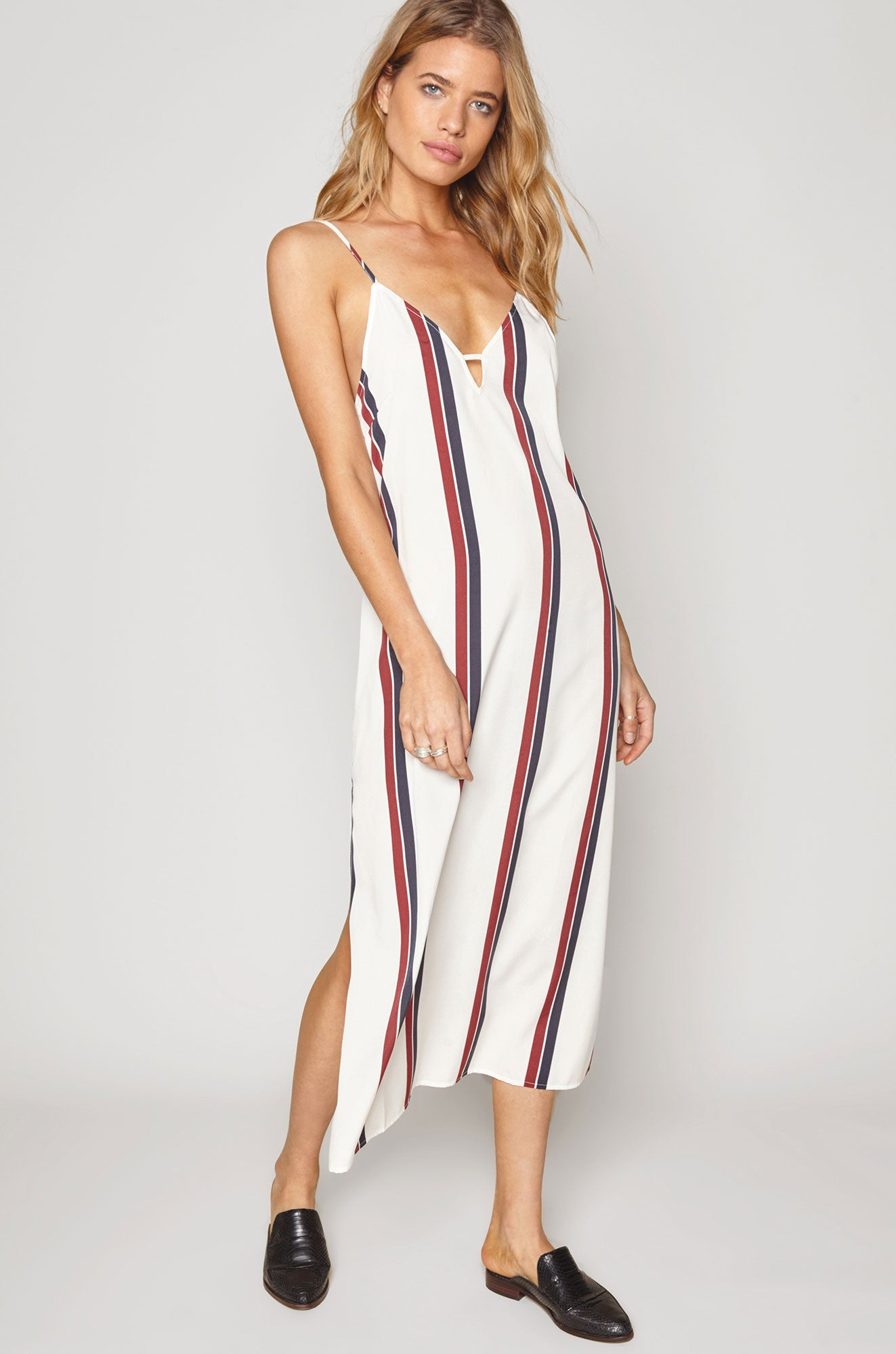 women's sleevelss adjustable spaghetti strap v-neck cami midi dress in white with blue and burgundy stripes.