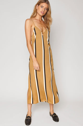 women's sleevelss adjustable spaghetti strap v-neck cami midi dress in yellow with black and white stripes.