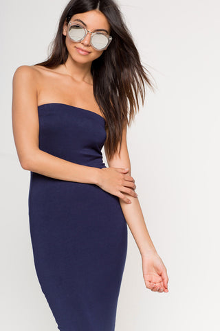 Women's strapless bodycon midi jersey casual dress in navy blue