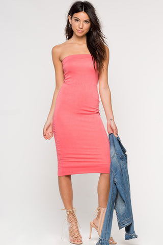 Women's strapless bodycon midi jersey casual dress in coral