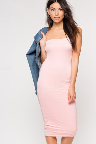 Women's strapless midi dress. Casual basic jersey bodycon midi dress. Light blush pink