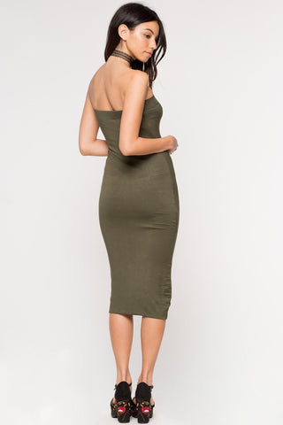 Women's sleeveless strapless casual tube bodycon midi jersey dress in olive green