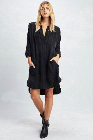 women's sustainable fabric clothing. Black v-neck mini tunic shirt dress with 3/4 sleeves. Casual LBD