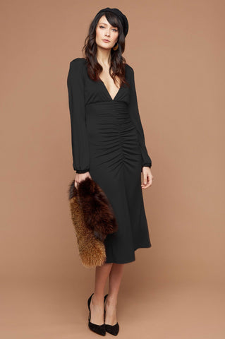 women's black lbd luxury designer long sleeve ruche front plunging deep v-neck jersey midi party dress.