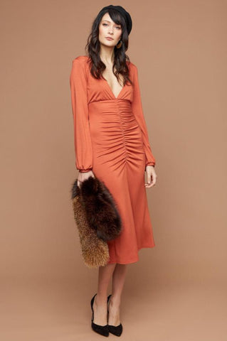 women's luxury designer long sleeve ruche front plunging deep v-neck jersey midi party dress.