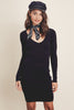 women's fall outfit ideas: Long sleeve bodycon ribbed black sweater dress, mini, black. Front view.