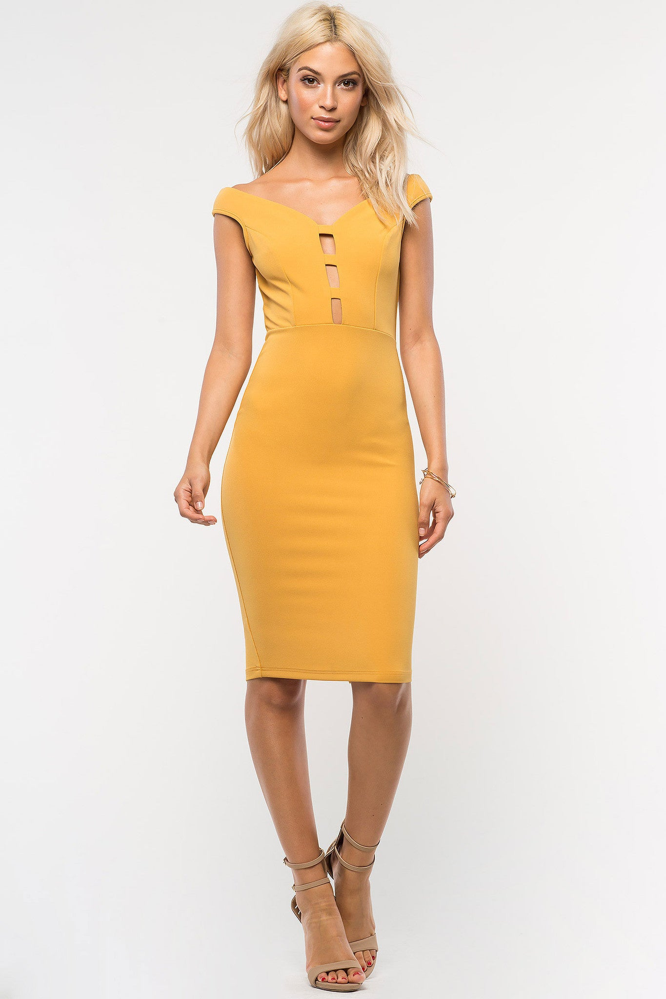 Womens party dress outfits: Off the shoulder cap sleeve bodycon midi party dress in mustard yellow. Front view