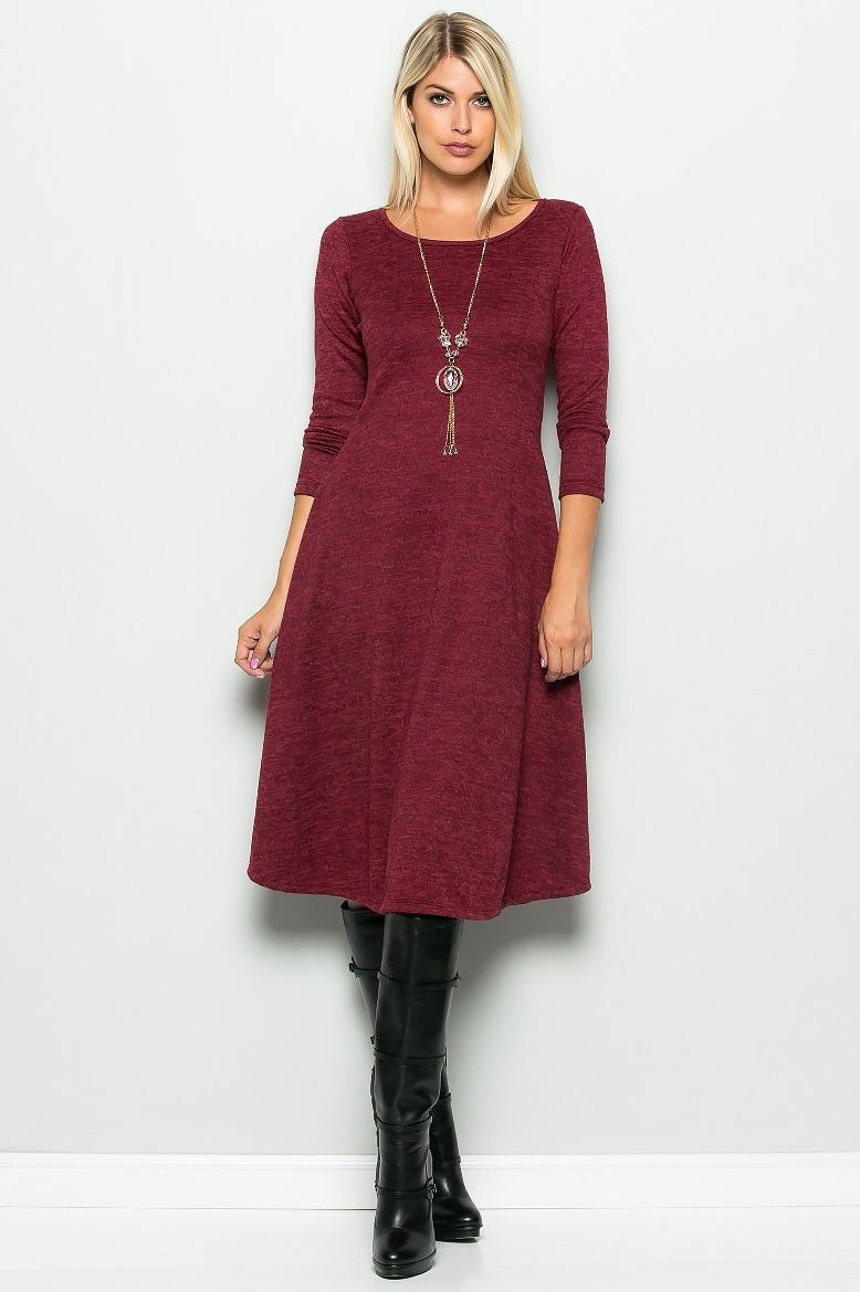 women's long sleeve round neck a-line modest dress and cute fall outfit idea. Front view