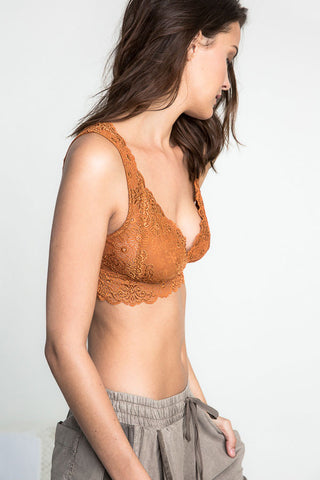 Buy women's sexy lace bralette with no underwire. Rust