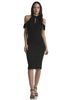 Street style black bodycon midi dress cold shoulder, keyhole and cut out detail. Front view