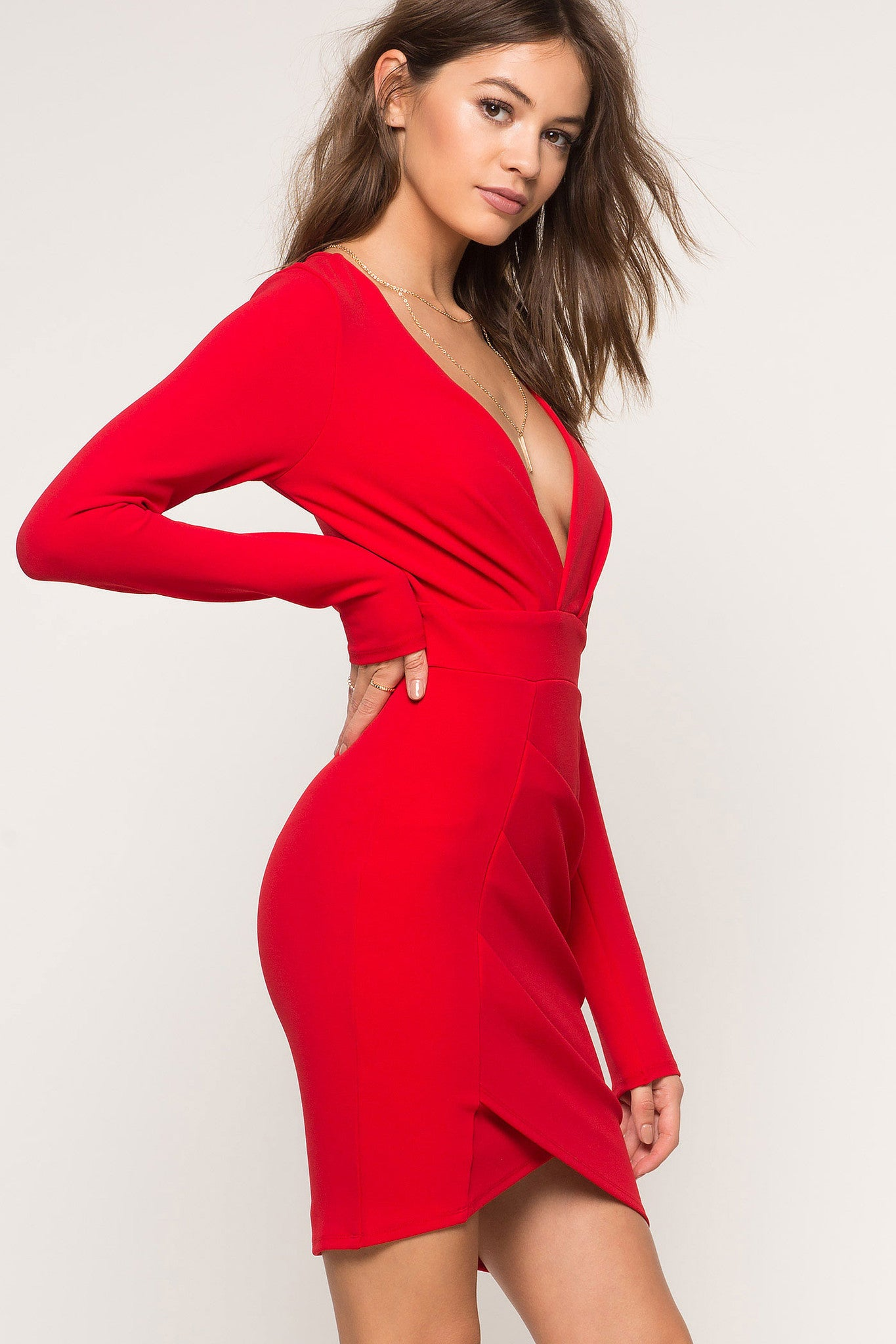 MEMDALET | Long Sleeve Deep V-neck Red Party Dress - Red Surplice ...