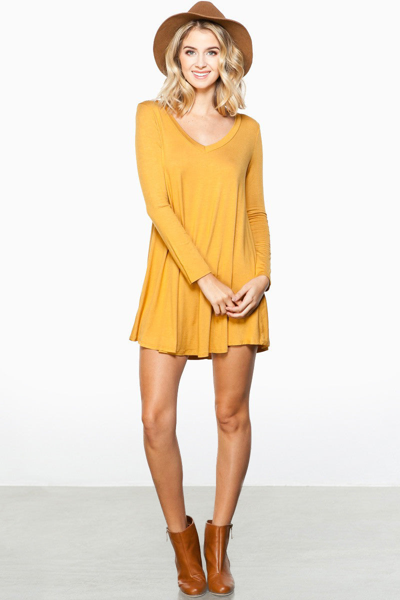 long sleeve, v neck jersey basic mini dress in yellow, similar to James Perse, Yumi Kim, Stone cold fox, keepsake, urban outfitters, zara, topshop - front view