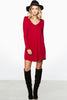long sleeve, v neck jersey basic mini dress in burgundy, similar to James Perse, blq basiq, blaque, Stone cold fox, keepsake, urban outfitters, zara, topshop - front view