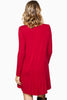 long sleeve, v neck jersey basic mini dress in burgundy, similar to James Perse, blq basiq, blaque, Stone cold fox, keepsake, urban outfitters, zara, topshop - back view