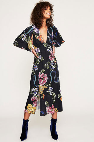 Women's black floral print flutter sleeve v-neck midi party dress.
