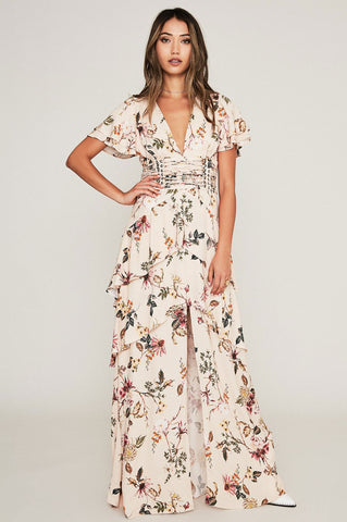 Women's v-neck short flutter sleeve cream floral print tiered maxi dress for going out wedding guest attire vacation