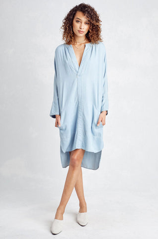 Women's long sleeve light blue denim chambray shirt dress outfit knee length tunic