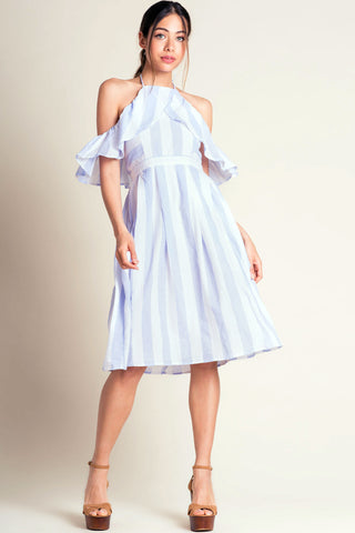 women's off the shoulder halter neck ruffle trim light blue and white stripe fit and flare midi party dress