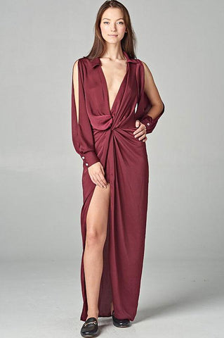 women's sexy long sleeve plunge v-neck high slit knot front draped cocktail party dress for holiday and christmas party