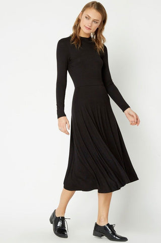 Women's long sleeve high neck midi flare casual jersey dress in black. lbd