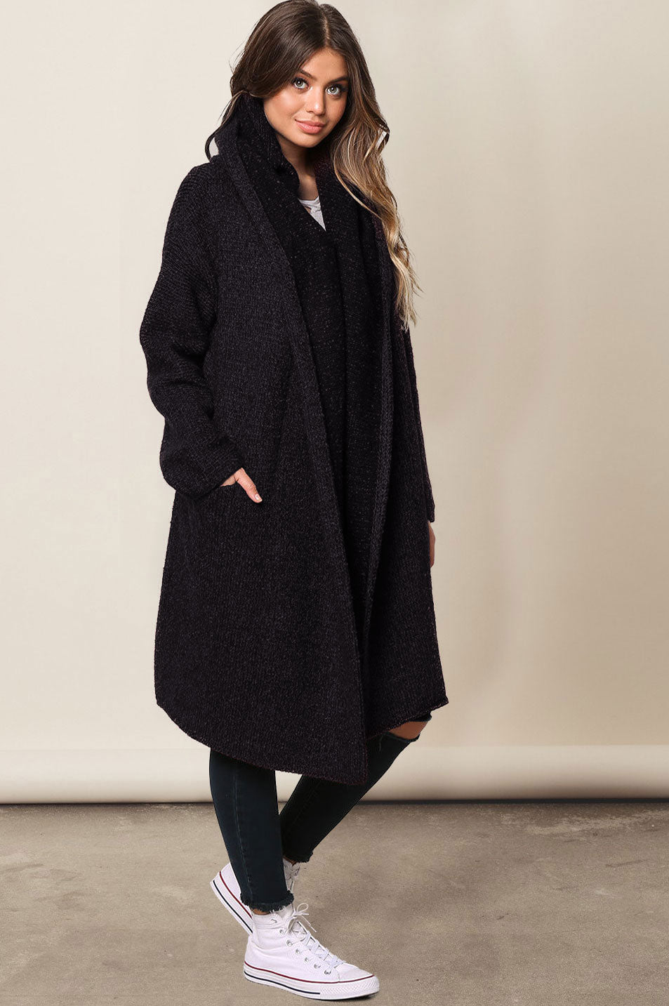 Best women's chunky thick open front collette long-line cardigan sweater coat. Best for fall autumn outfit ideas. Black