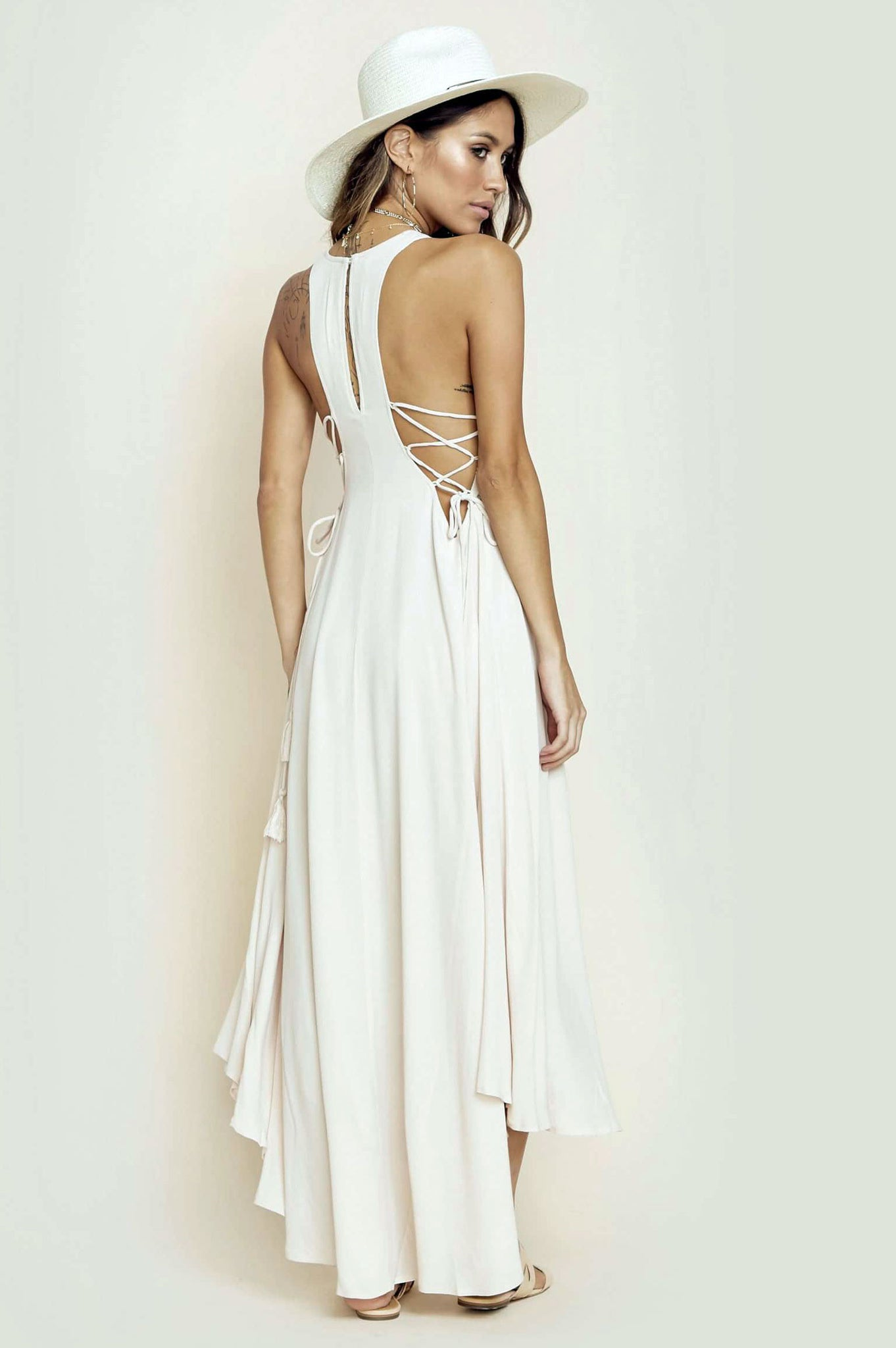 women's sleeveless ebroidery lace up long oversized maxi dress. Cream