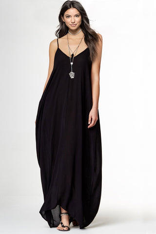 Women's sleeveless v-neck spaghetti straps casual long maxi dress for summer outfits ideas. Black LBD