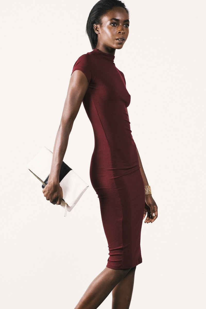 Short sleeve mock neck bodycon midi jersey basic dress in burgundy.  Front view