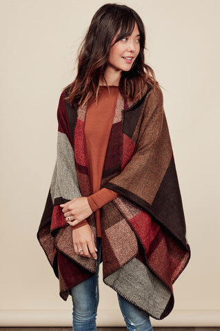 Women's waterfall cardigan for cute fall outfits. Patchwork cape, blanket stitch Poncho, wrap draped cardigan.