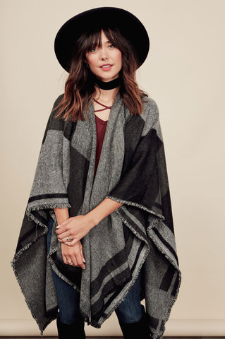 Women's waterfall cardigan for cute fall outfits. oversized sweater cape, blanket stitch Poncho, wrap draped cardigan.