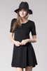 short sleeve jersey basic fit and flare dress, black, front view