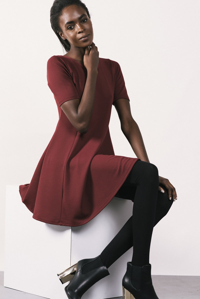 short sleeve jersey basic fit and flare dress, burgundy, front view