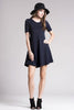 short sleeve jersey basic fit and flare dress, blue, front view