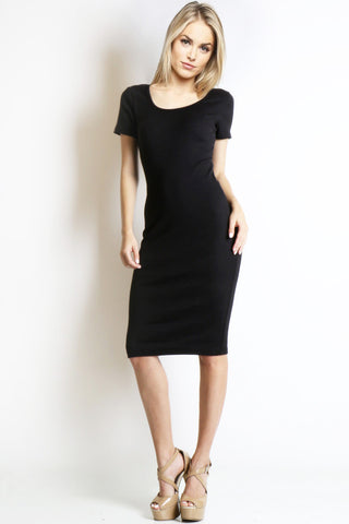 Women's black short sleeve scoop neck bodycon midi casual day dress. LBD