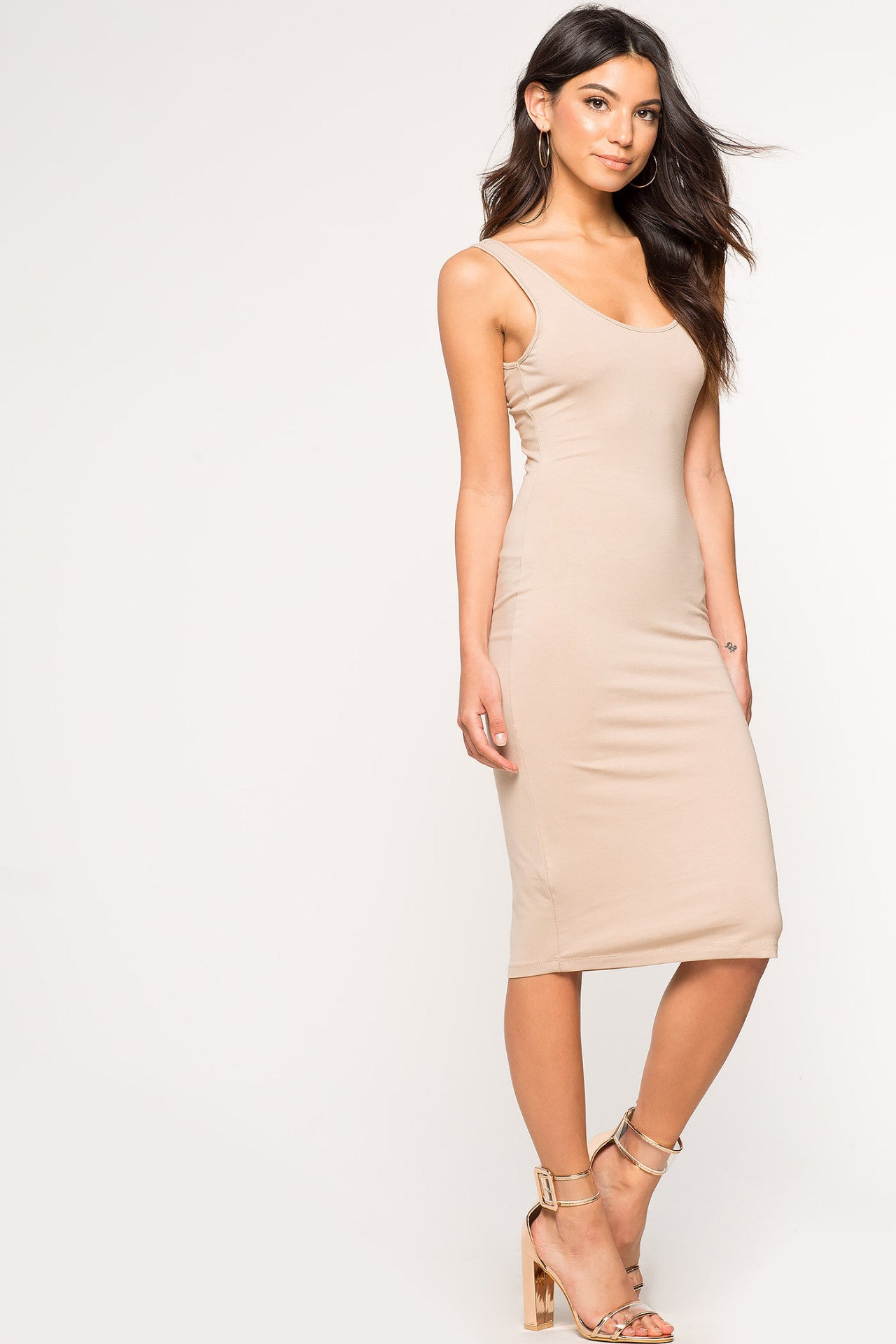 Women's sleeveless round scoop neck skinny tank jersey casual dress fitted bodycon midi sundress. Nude taupe