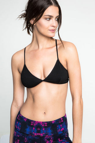 Buy women's comfortable and affordable cotton bralette with criss-cross back. V neck. Black