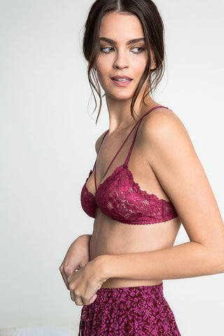 Buy women's sexy lace bralette with caged front. V-neck, stretch lace bra with no boning or underwire. Burgundy
