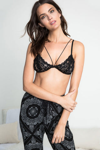 Buy women's sexy lace bralette with caged front. V-neck, stretch lace bra with no boning or underwire. Black