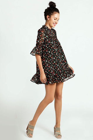Memdalet women's mid sleeve black floral print mini shift party dress