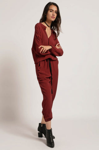women's long sleeve aviator jogger utility drawstring casual jumpsuit burgundy.