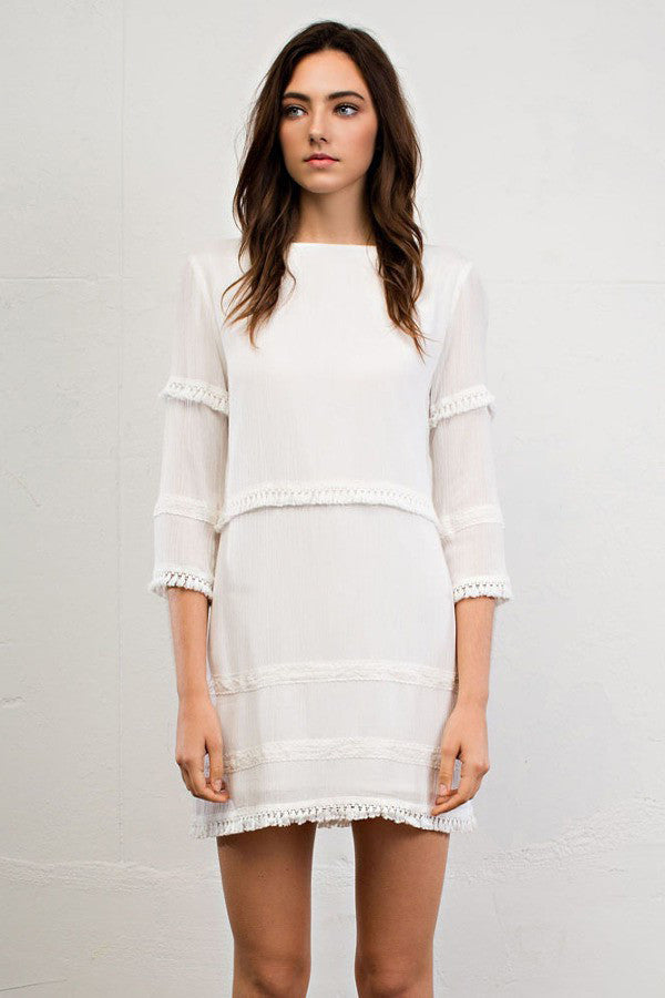 Womens street style dress outfit ideas: 3/4 sleeve ivory white shift dress for parties or casual weddings. Front view