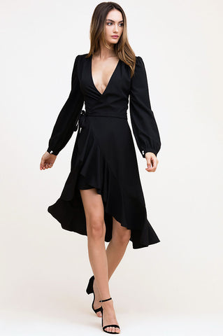 Women's long sleeve black ruffle trim midi wrap dress in silk.