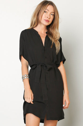Women's black short sleeve mini shirt dress with belt. Casual