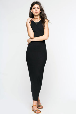 Women's LBD sleeveless ribbed tank dress. Casual fitted bodycon maxi jersey dress in black