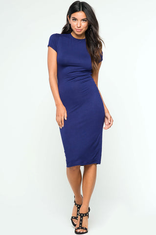 Womens Capped Short Sleeve Bodycon Midi Jersey Dress in blue