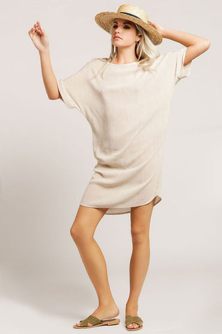 Women's short sleeve mini tunic shift casual dress in taupe
